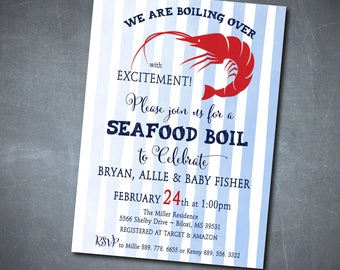 Seafood Boil Baby Shower Invitation printable/Digital File/Shrimp Boil, baby boy shower, couples shower, crawfish/Wording can be changed