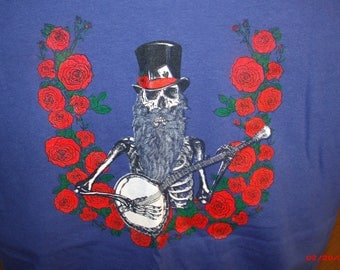 "Jerry Garcia Acoustic Band/Grateful Dead Shirt. ""Blue Yodel #9"" Grateful Dead Shirt Skull and roses shirt"