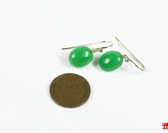 ONE-OF-A-KIND 18K Emerald Green Jadeite Earrings, 18K Solid Gold Jadeite Earrings, 18K Solid Gold Earrings, 18K Gold Leverback Earrings
