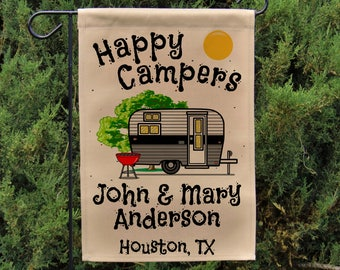 Ready to Ship, Happy Campers Personalized Garden Flag or Wall Hanging, Campsite Flag, RV Gift, RV Camp Sign, Stand not included