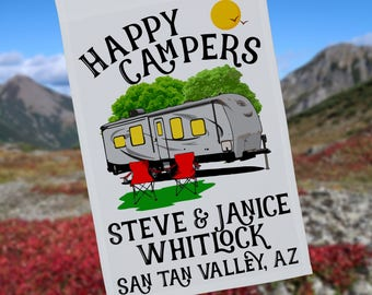 Happy Campers Personalized Travel Trailer Garden Flag or Wall Hanging, Campsite Flag, RV Camp Sign, Stand not included