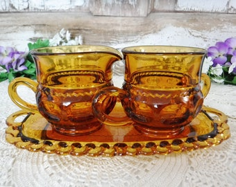 Sugar Bowl and Creamer Set/Sugar and Creamer with Tray/Amber Gold Kings Crown/Thumbprint/Indiana Glass Servingware/Colony Crown/70's/Vintage