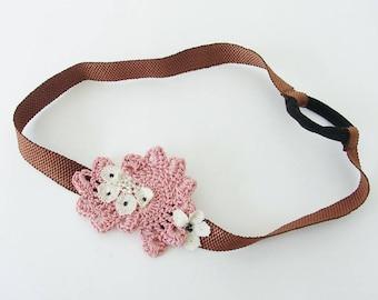 """Flora"" hand crocheted pink headband"