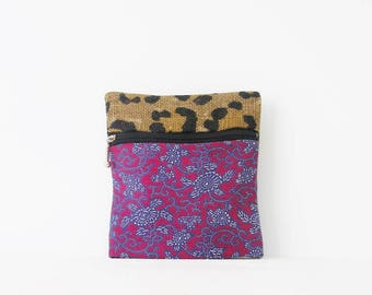 Pouch or clutch leopard and liberty vintage