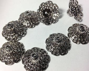 Set of 10 cups / round caps cone filigree Tibetan style, ornate flowers 20mm antique silver metal