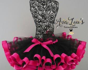 Pink and black Ribbon trim tutu, 1st birthday tutu, 2nd birthday tutu, 3rd birthday tutu, pink and black birthday tutu, black and fuchsia