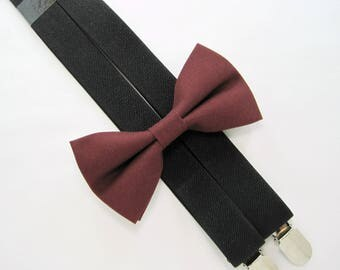 Wine Bow Tie and Khaki Suspender set -Bow Tie and Suspender Set for Baby,Toddler and Boys.