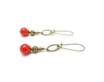Boho earrings ~'. ' ~ Cherry Red ~'. ' ~