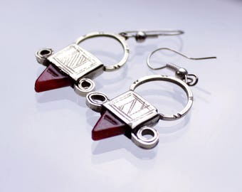Stunning Tuareg Earrings with red, blue or green glass bead
