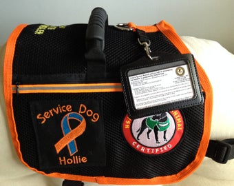 Custom Made Service Dog Vest. Custom Made Service Dog Patch, Will Sew On Patches that You Send to Me. 2 Pockets that Close with Zippers.