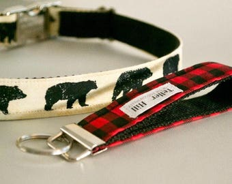 Red Buffalo Plaid key fob wristlet - Buffalo Plaid key fob - nature lover wristlet - House Warming gift - cabin lanyard - gift for her