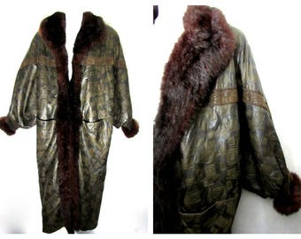 80s does 20s cocoon coat vintage fur embossed leather opossum real genuine batwing avant garde unique lagenlook art to wear long full length