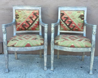 Pair Egyptian Revival Faux Marble Carved Wood Arm Chairs Turkish Kilim Upholstery