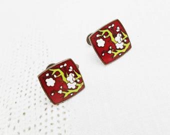Vintage Enamel Cherry Blossom Screw Back Earrings Red Green White Enamel