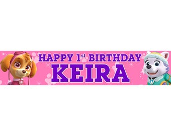 2 x Pink Paw Patrol Personalised Birthday Banner, custom, party,