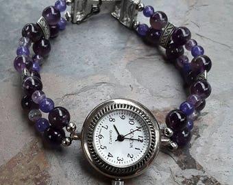 Beaded Amethyst Watch Bracelet, Purple Jewelry, Amethyst Jewelry, Purple Bracelet, Gemstone Bracelet ,Gemstone Jewelry, Ladies Watch