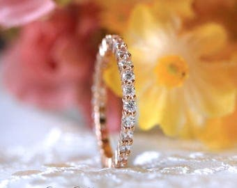 2.0mm All Eternity Band Ring-Brilliant Cut Pave Set Diamond Simulants-Stacking Ring-Daily Ring-Rose Gold Plated-Sterling Silver [5913RGE]