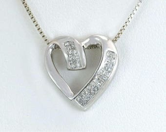 Estate .38ct Genuine Diamond H SI1 10K White Gold Heart Pendant 2g