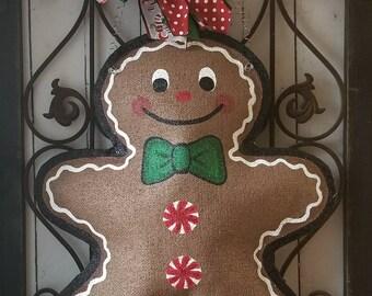 Gingerbread Burlap Door Hanger