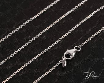 Thin White Gold Chain 14K Solid White Gold Necklace Delicate Gold Chain Minimalist Chain White Gold Cable Chain BloomDiamonds