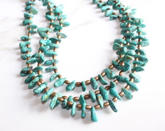 Natural Turquoise Necklace-three strand-chunky with leather- adjustable
