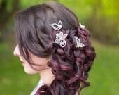 Pics à chignon mariage, perles nacrées et cristaux de Swarovski, cristal de roche, feuilles - bridal hair pins, crystal leaves, wedding hair
