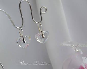 Earrings wedding Swarovski Crystal hearts, Silver earrings, bridal earrings, crystal heart earrings, wedding jewelry