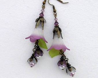 "Purple & White 2 Tone Lucite Trumpet Lily Flower SWAROVSKI 3"" Long Dangle Earrings Romantic Lightweight"