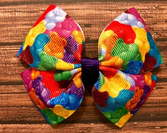 gummy bear bow, movie bow, snacks bow, candy bow, hair bows, hair clips, girls hair bows, hair bows for girls, boutique bows, kids bows
