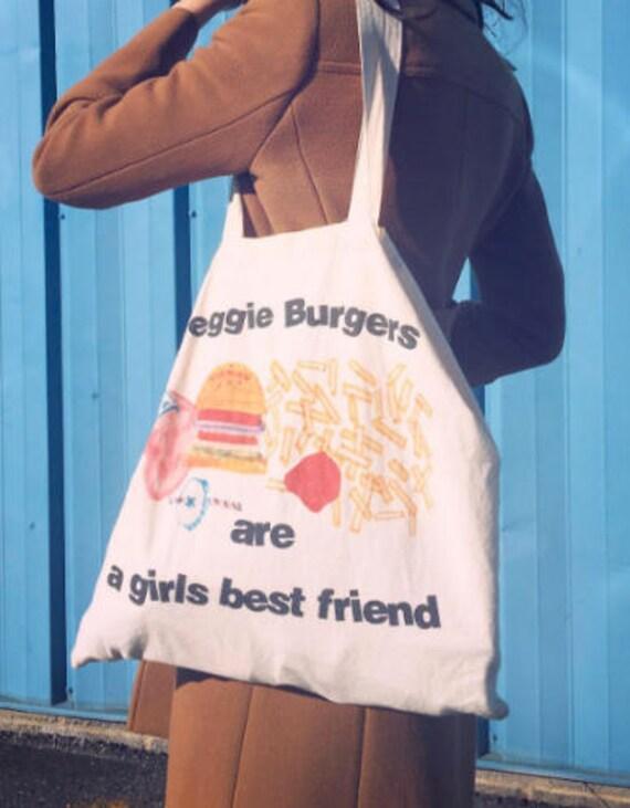 Veggie Burgers are a Girls Best Friend, tote bag