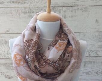 Paisley  oversize scarf infinity scarf spring scarf light summer scarf paisley scarf ombre scarf boho scarf women accessories grey scarf