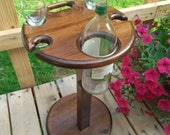 Wine table with a sturdy removable base - Easy to store with a folding top. Holds 4 wine glasses and a bottle of wine. Patio, Deck, Porch