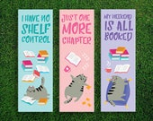 Long Bookmark | Book Loving Cats I Have No Shelf Control Just One More Chapter My Weekend Is All Booked Bookmarks Pack of 3 Bibliophile Life