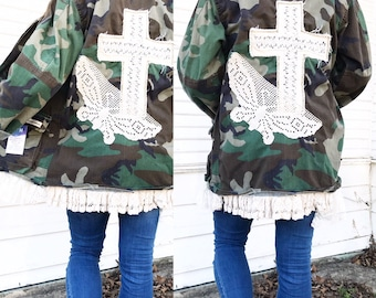Camo Revamped Jacket - Camo + Lace - Camo Jacket - Repurposed Clothing - Size Small