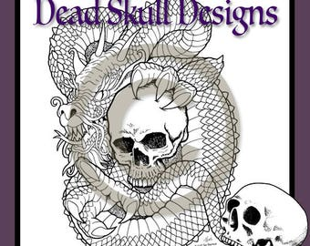 Dragon Skull - Colouring Page, Coloring Page, Digital Stamp, Dead Skull Designs