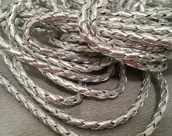 round braided leather cord 1 m