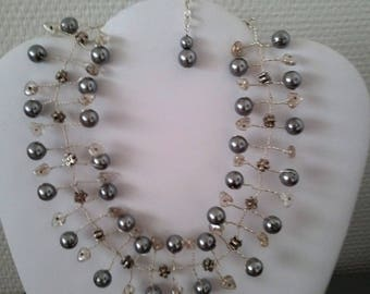 Necklace silver colors gray glass beads