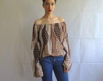Vintage Boho Off the Shoulder Blouse