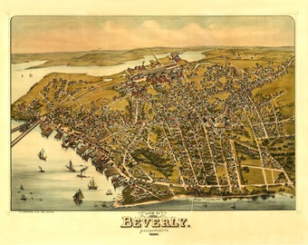 Beverly MA Panoramic Map Dated 1886. This print is a wonderful wall decoration for Den, Office, Man Cave or any wall.