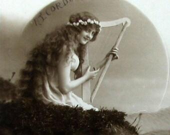 Siren with a Harp | Studio Portrait | Antique Italian Language Belle Epoque Postcard | 1915