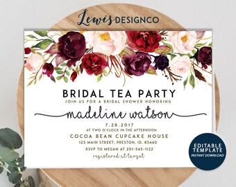 bridal tea party etsy. Black Bedroom Furniture Sets. Home Design Ideas
