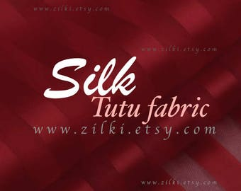 Burgundy silk organza striped fabric by the YARD
