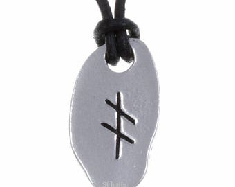 September Ogham Necklace – ogham pendant on adjustable leather thong Pendant Necklace- Hand Made in UK