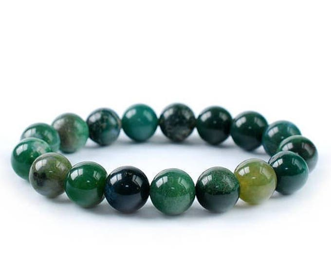 "Green Moss Agate Bracelet Water Weed Jade Agate Natural Gemstone 7""- 7.5"" Stretch Bracelet Available in 8 & 10 mm Round Beads-Unisex"