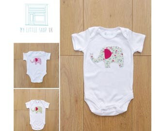 Short sleeve bodysuit with appliqué elephant in floral fabric - sage green, pink or lime green
