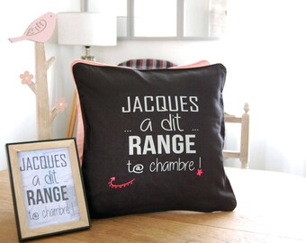 Message cushion tidy your room humor, Silver - gift idea!
