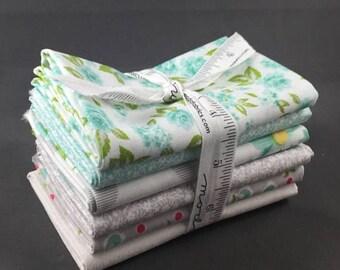 "SUMMER SALE Sew and Sew Half Yard Bundle by Chloe's Closet for Moda Fabrics ~ 6 Teal & Grey 18""x44"" PreCut Cotton Quilt Pieces"