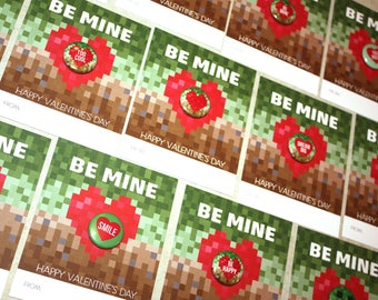 10-PACK Classroom Kids Valentines Day Cards with Mini Buttons - No Candy Alternative - Be Mine Video Game Pixel Theme