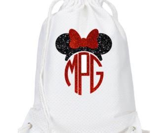 Disney Backpack - Disney Drawstring Bag - Disney Drawstring Backpack - Mickey Backpack - Minnie Monogram Backpack - Disney Drawstring Bag