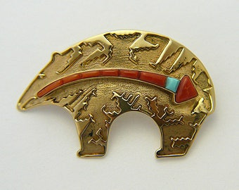 Vintage 14k Navajo Bear Pin, Signed D. Clark, Turquoise and Coral Native Brooch